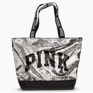 NEW VICTORIA SECRET PINK GOLD/SILVER SEQUIN TOTE!